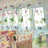 Amazingdeal365 idyllische bunte Schmetterling Voile Gardinen Schal 2 m *1m