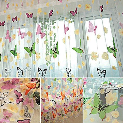 Amazingdeal365 idyllische bunte Schmetterling Voile Gardinen Schal 2 m *1m Set für Schlafzimmer Wohnzimmer Kinderzimmer Balkon Terasse Spielzimmer