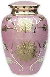 Pink Garden Cremation Urn by Beautiful Life Urns - Exquisite Funeral Urn Etched with Stunning Gold Flowers (Large)