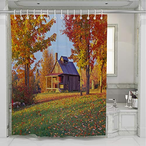BEISISS Forest Shower Curtain,Country Side Vermont Autumn,Photo Art Fabric Bathroom Decor Set with Hooks