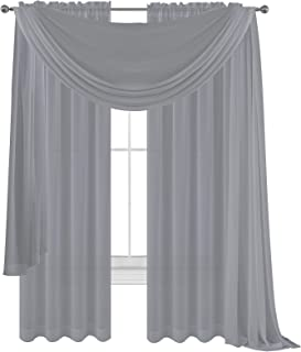 WPM WORLD PRODUCTS MART Drape/Panels/Scarves/Treatment Beautiful Sheer Voile Window Elegance Curtains Scarf for Bedroom & ...