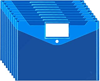 InTeching Plastic Filing Envelopes with Label Pocket and Snap Button Closure, US Letter / A4 Size, Pack of 10, Blue, Office and School Supplies