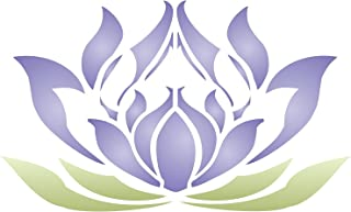 Lotus Flower Stencil - 11 x 6.5 inch (S) - Reusable Oriental Asian Lotus Blossom Wall Stencils for Painting - Use on Paper Projects Scrapbook Journal Walls Floors Fabric Furniture Glass Wood etc.