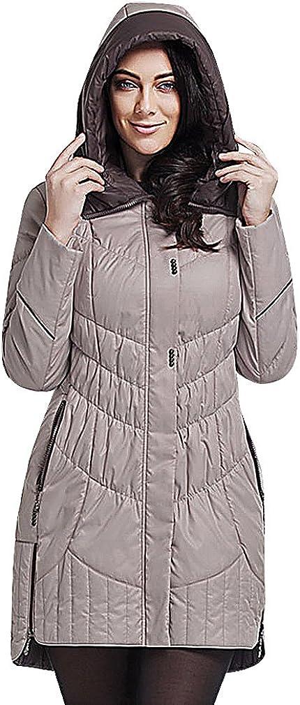 US&R Women 1 Color Zip Up Quilted Contrast Funnel Neck & Hood Wind Jacket