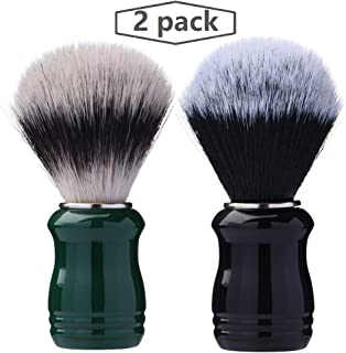 Je&Co Synthetic Shaving Brush With Resin Handle, 25mm Extra Dense Knot (black and green)