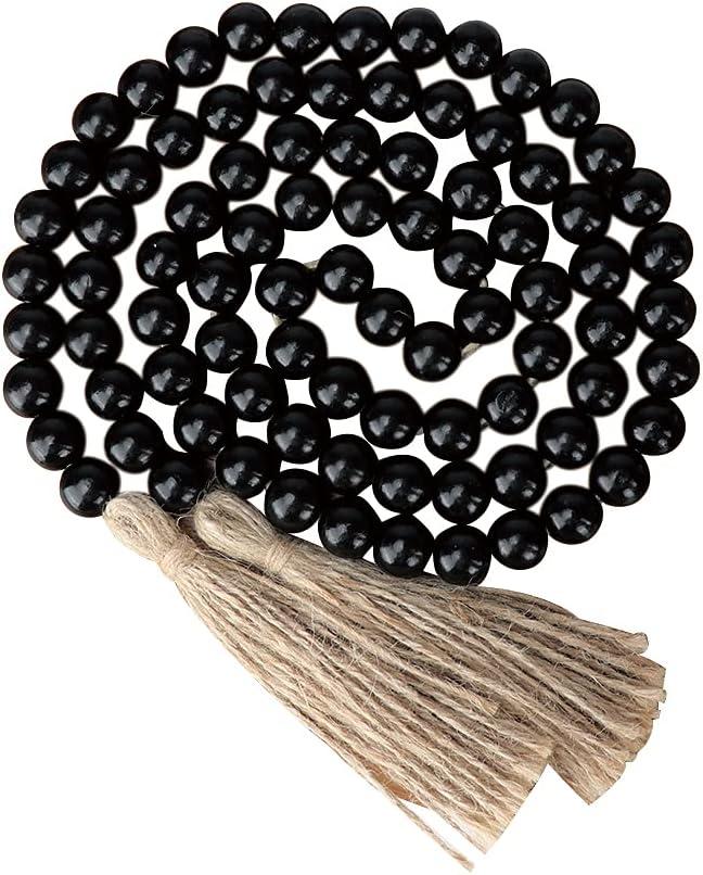 Wood Beads Garland Tassel 66 Inch Tiered overseas Selling Black Tray Decor Farmh