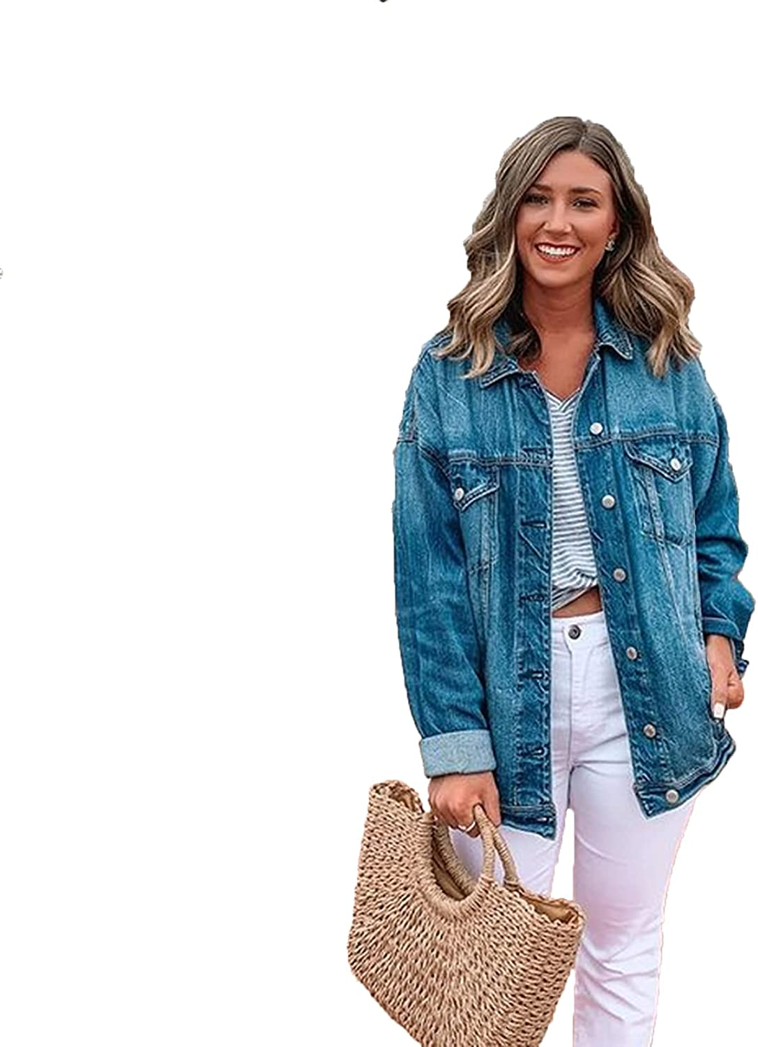 Women's Max 85% OFF Fashion Denim Jacket Casual Basic Button Sleev Down Price reduction Long