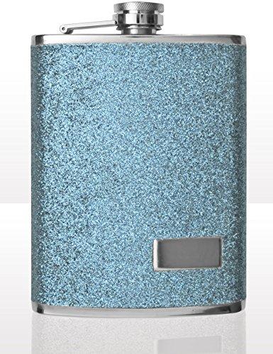 Outdoor Saxx® - Fiaschetta in acciaio inox, design con glitter azzurro, bottiglia di alta qualità, tappo a vite, 240 ml, azzurro