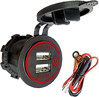 Dual USB Fast Charger Socket Waterproof Car Power Charger 4.2A snellader Outlet met Touch Switch Red