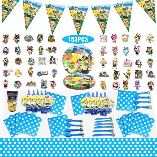 Animal Crossing Party Supplies Party Favors Birthday Party Decorations for 10 Guests, Icluding Disposable Paper Plates…