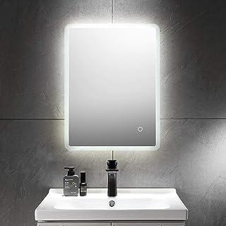Aiboria Miroir de salle de bain à LED, rectangulaire, miroir de salle de bain avec éclairage blanc froid, mur, étanche IP6...