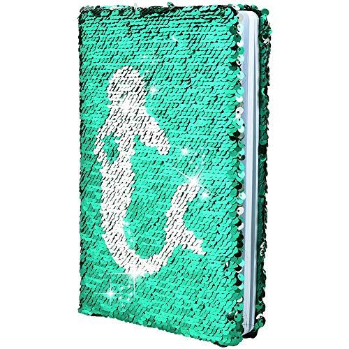 Demine Diario de Lentejuelas, Cuaderno Mágico Reversible Diario de Viaje A5 Bloc de Notas para Niños y niñas Regalo de Cumpleaños para la Oficina de la Escuela Cuaderno, Patrón de Sirena