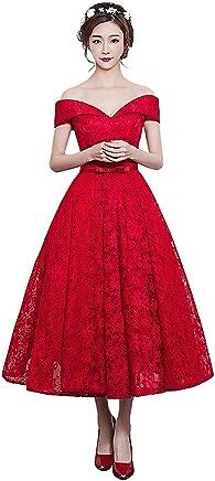 09950e12ecd2 Women Off The Shoulder Party Dress Tea Length Lace Bridesmaid Dress Free  Custom