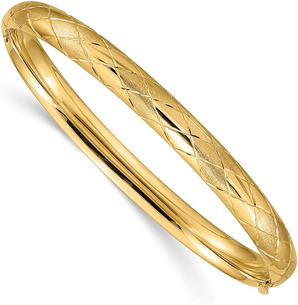 14k Yellow Gold 4/16 Diamond-cut Unique Hinged Bangle Cuff Bracelet (Width = 7mm)