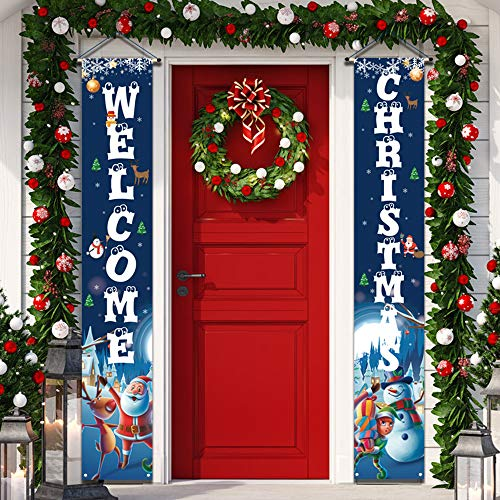 YUFOL Christmas Decorations for Home Merry Christmas Banner,Hanging Christmas Door Decorations Decor Porch Sign for Front Door Welcome Christmas Banners Dark Blue Flags Xmas Decor