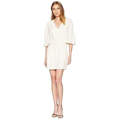 Halston Heritage Kimono Sleeve Faux Wrap Dress (Cream) Women