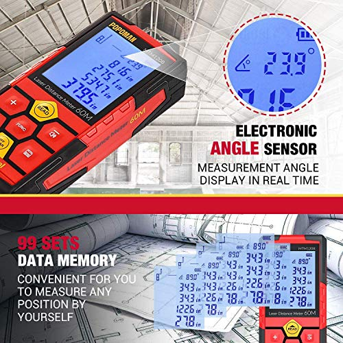 Laser Measure,196Ft M/In/Ft Rechargeable Laser Distance Meter, Red,Big Screen, with Electronic Angle Sensor,99 Sets Data Storage, 2.25''LCD Backlit, Measure Distance, Area and Volume