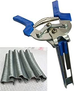 XUXUWA Pliers, 1pc Hog Ring Plier Tool and 600pcs M Clips Chicken Mesh Cage Wire Fencing Crimping Solder Joint Welding Rep...