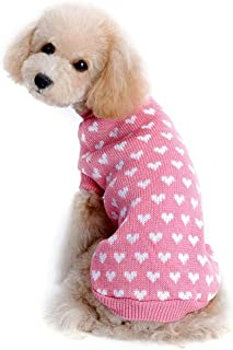 Stock Show Puppy Dog Cat Knitted Sweater Vintage Plaid Sweater Pink Love Heart Breathable Crochet Knit Sweater Sweatershirt Pullover Jumper for Small Pets Puppy Kitten Rabbit Winter Keep Warm