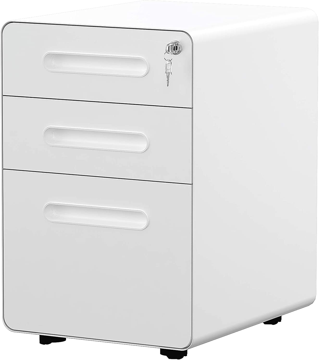 White YITAHOME 3-Drawer Office Storage Cabinet,/Metal Mobile File Cabinet with Keys and Anti-tilt System Home Commercial Pedestal File Cabinet Under Desk