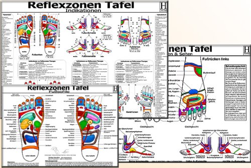 Reflexzonen-Therapie Tafel-Set: Fußsohle Seiten / Reflexzonen-Indikationen / 3 Tafel