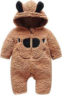 Glaiidy Chaqueta para niños Moda Cute Kids Plush Jumpsuit Baby Unisex 0 12 Meses Boys Girls Romper Romper Jumpsuit cálido ...