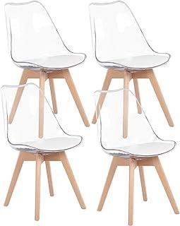 H.J WeDoo Pack de 4 Tulip Sillas de Comedor Transparente Sillas Cocina Nórdico con Asiento Tapizado y Las piernas de Madera de Haya Maciza