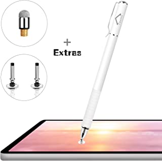 Stylus Pens for Touch Screens, LezGo 2-in-1 Universal Disc Stylus for iPad, iPhone and All Other Capacitive Cellphones, Tablets, Laptops Bundle with 3 Replacement Tips (White)
