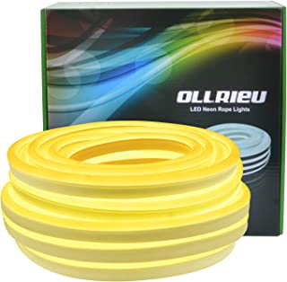 ollrieu LED Light Strip, 3000K Flexible Warm White Neon Light 50Ft/15m IP68 Waterproof, UL-Listed Upgrade Silicone LED Rope 110V DC Tape Light for Indoors/Outdoors Decor
