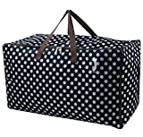 iwill CREATE PRO Large Waterproof Storage Bag with 3-Side Zip Open, Soft Bag for Winter Comforter, Blankets, Bedding Set, Duvets etc. for Wardrobe, Black Dot