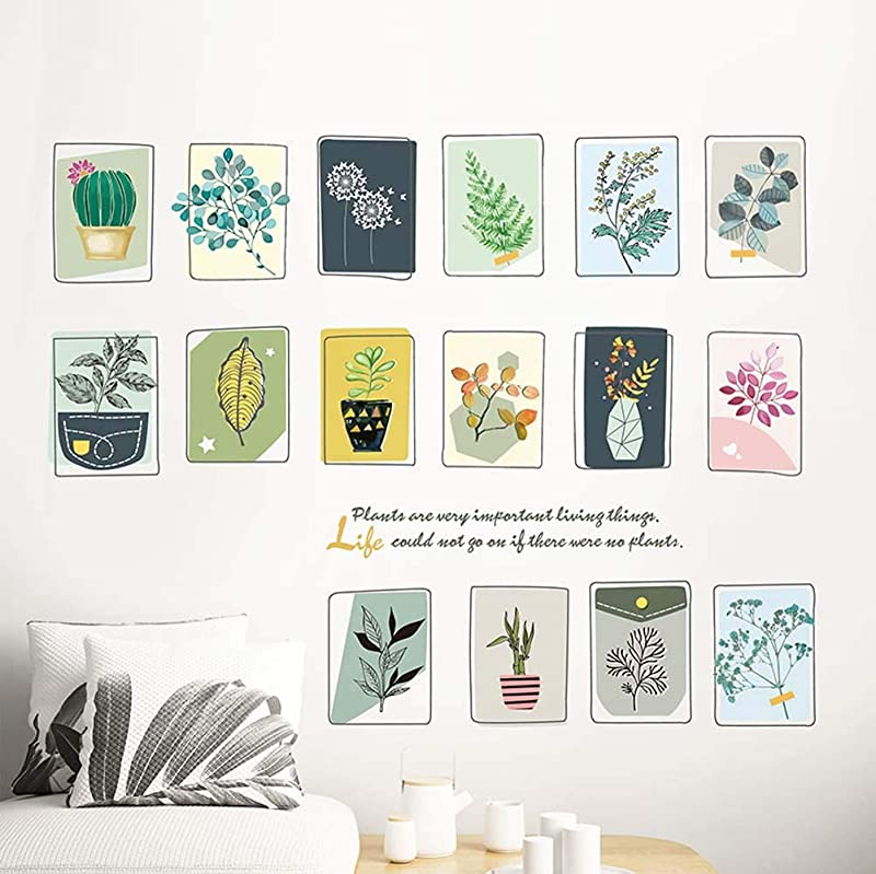 Iwallsticker Flower Birdcage Wall Decal Plants Quotes Potted Cactus Vinyl Stickers For Living Room Kitchen Nursery Bedroom Kids Room