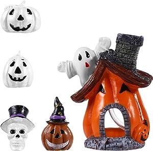DOITOOL Halloween Miniature Pumpkin Figurines Decorations Ornaments, 5 PCS Halloween Fish Tank Decorations Pumpkin House with Ghost Adornments for Fairy Garden Accessories Doll House Decor
