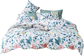 Floral Queen Duvet Cover Set Flower Pattern Full Bedding Sets Red Blossom Blue Leaf Cotton Bedding Collections for Girls Women