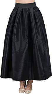 Women's High Waist Flared Holiday Party Long Maxi Satin Skirt with Pockets(Black, Silver, Pink, Blue, Green)