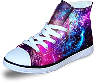 FOR U DESIGNS Fashion Galaxy Print High Top Lace Up Comfy Lightweight Canvas Shoes for Kids Girls Boys Walking