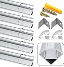 Perfil LED, Jirvyuk 5 Pack 1Meter/3,3 ft Perfil de Aluminio LED para Luces de Tira del LED con Cubierta Transparente, Los Casquillos de Extremo y los Clips de Montaje del Metal-Transparente (04)