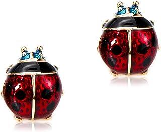 Hypoallergenic 18K Rose Gold Plated Red Ladybug Stud Earrings for Women Girl