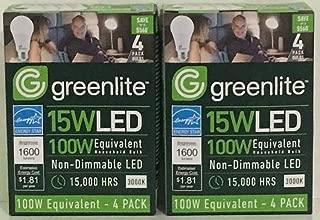 Greenlite, 15 Watt LED, 100 Watt Equivalent, Dimmable, 1600 Lumens, 3000K 8 Pack