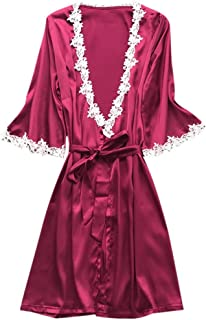 Lovely-Joy 2019 Women Sexy Satin Silk Sleepwear Pajamas Nightdress Lingerie Night Dress