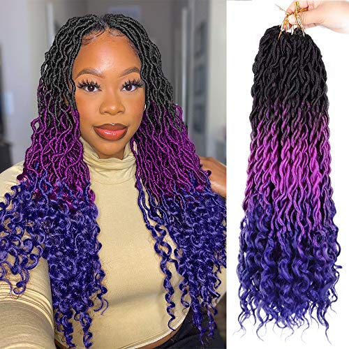 AISI BEAUTY Goddess Locs Crochet Hair for Black Women Bohemian Crochet Faux Locs Crochet Hair Ombre Faux Locs with Curly Ends 6Pcs/Lot(20Inches, Black/purple/blue#)