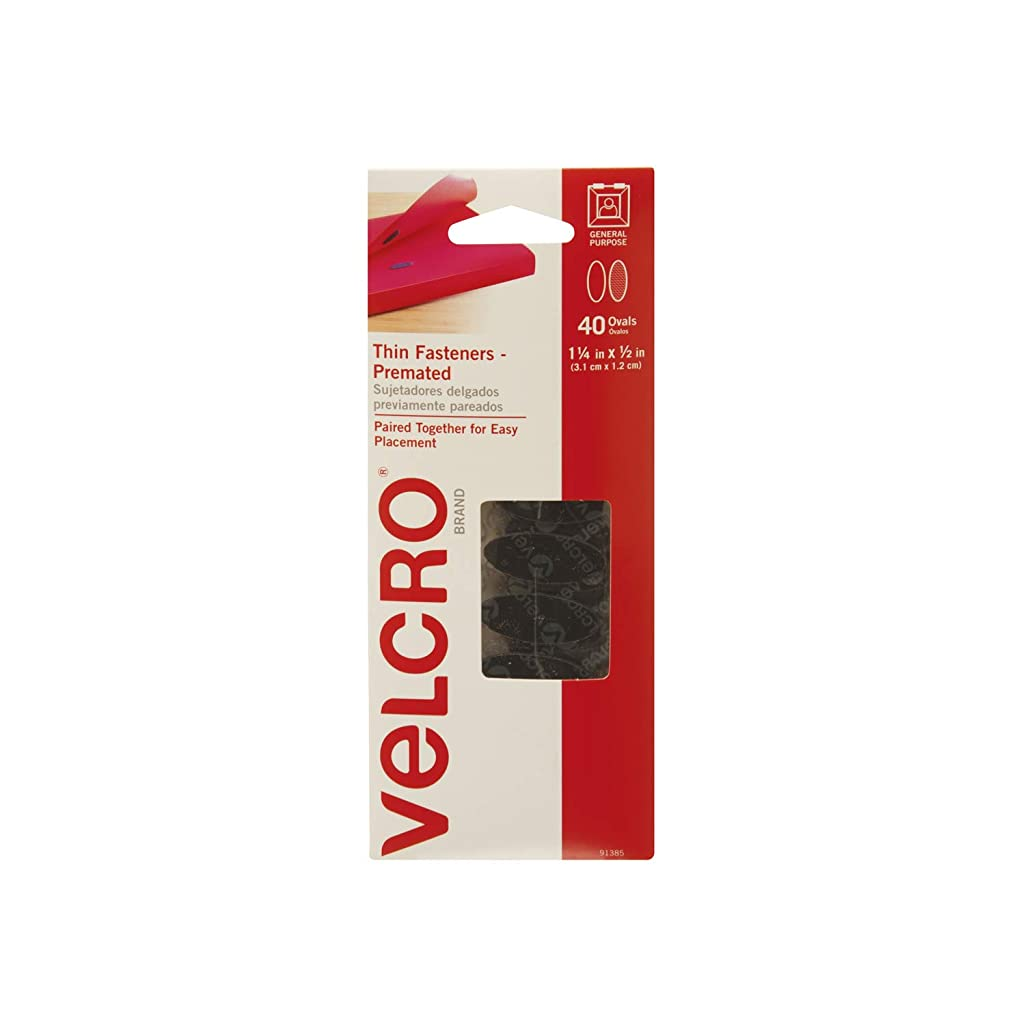 VELCRO Brand - Thin Fasteners - Premated - Ovals, 40 Sets - Black