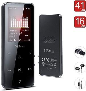 Victure Bluetooth 4.1 Reproductor MP3 16GB Botón Táctil Reproductor Música Portátil Grabación Radio FM Brazalete Deportivo Altavoz Incorporado Auriculares Soporte 128GB TF Card