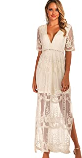 Women's Long Sleeve V Neck Lace Floral Maternity Gown Maxi Photography Dress