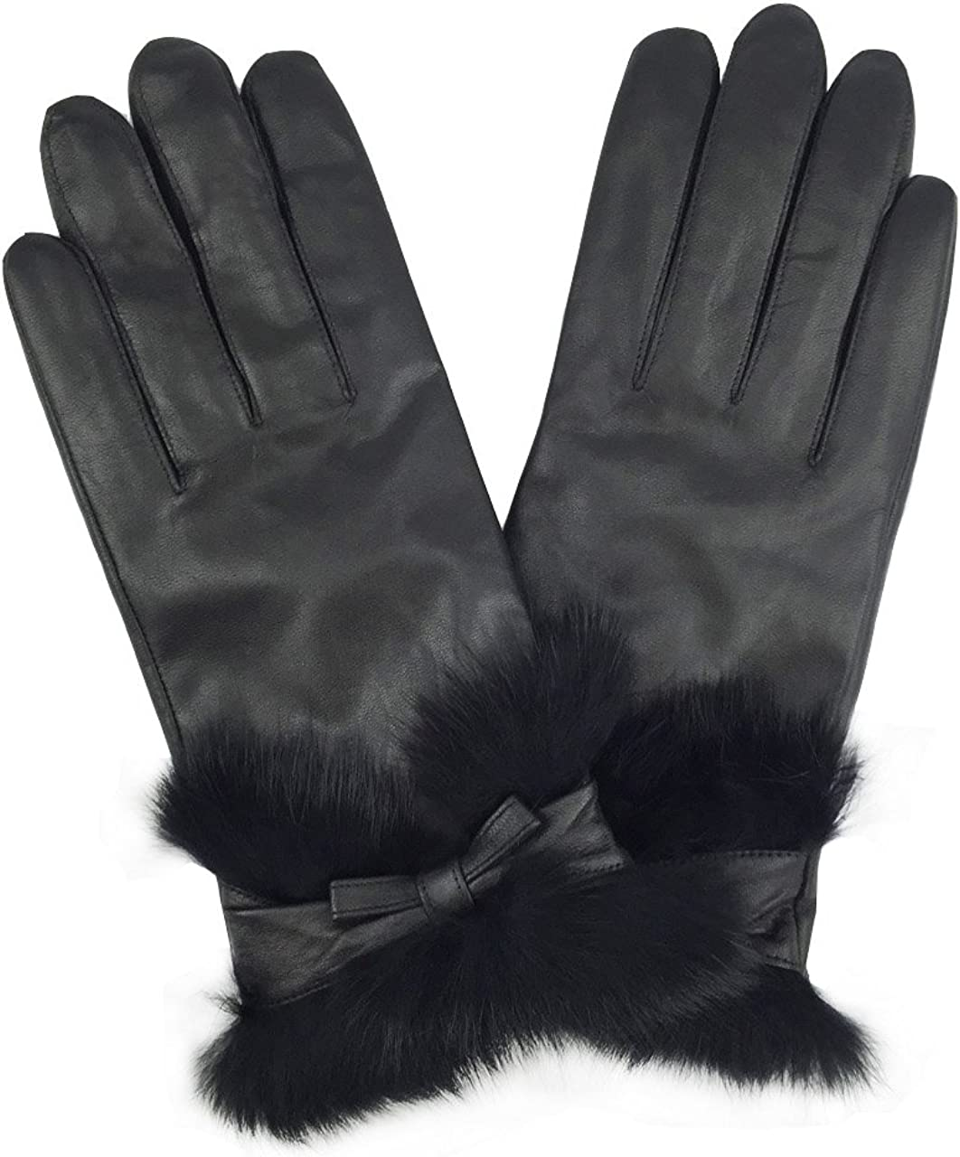 YISEVEN Womens Winter Lambskin Touch Leather Gloves Wool Lined Rabbit Fur Cuffs