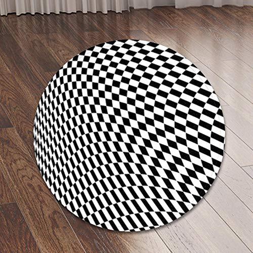 Eastbride Non-Slip Piel de Imitación,Alfombra de Dormitorio de Franela Impresa Cuadrada en 3D en Blanco y Negro-Blanco y Negro 02_140cm,Oveja de Piel sintética Felpudo Alfombra
