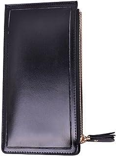 Luxurious Women's Faux Leather Wallet Multifunctional Purse Card Holder,Colour:Orange (Color : Black)