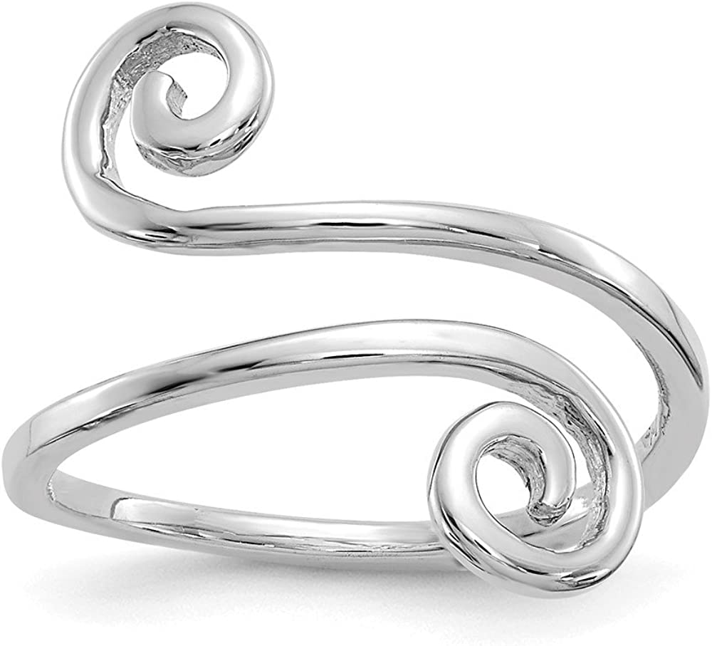 Solid 14k White Gold Swirl Toe Ring Adjustable