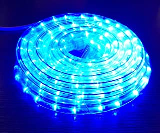 Izzy Creation 24FT Blue LED Rope Lights Kit, Plugin, Indoor/Outdoor Lighting, 1/2