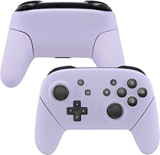 eXtremeRate Light Violet Faceplate Backplate Handles for Nintendo Switch Pro Controller, Soft Touch DIY Replacement Grip H...