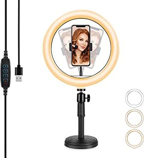 10'' LED Selfie Ring Light with Stand,Dimmable Desktop...